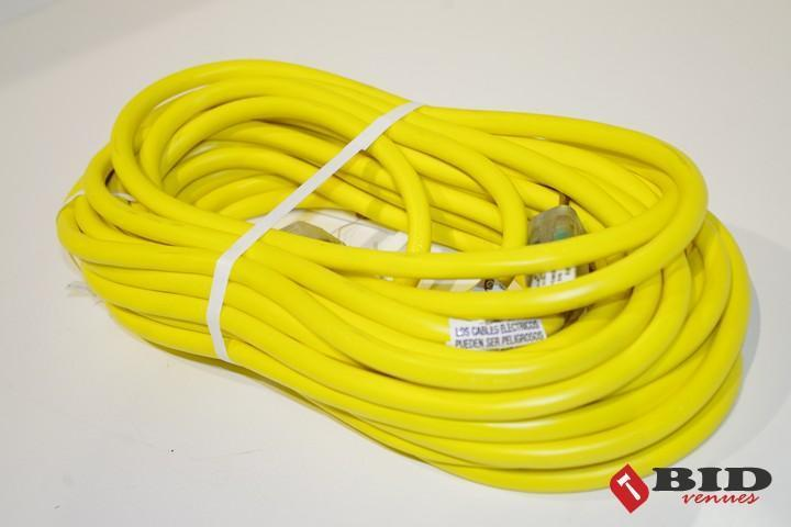 Lot 129 - NEW 50 Ft. 12 Gauge Extension Cord w/ Lighted Ends (Yellow), Made in USA