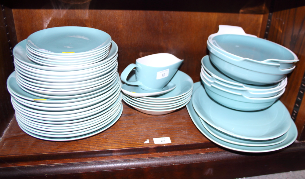 "Lot 46 - A 1960s Poole ""Cameo"" pattern dinner service, including tureens, meat plates, gravy boat, etc"