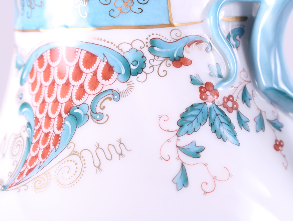 """Lot 13 - A Herend """"Cornucopia"""" pattern coffee pot with blue, red and gilt decoration, 8 1/2"""" high"""