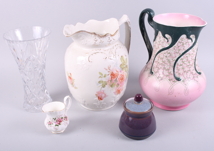 Lot 49 - A Royal Doulton glass vase, a Denby pot and cover, two wash jugs and a smaller jug