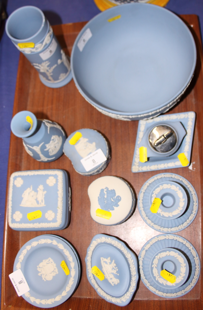 "Lot 8 - A Wedgwood jasperware bowl, 8"" dia, a spill vase, four boxes and covers and other jasper wares"