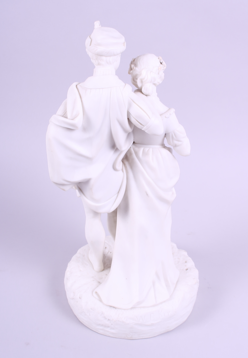 """Lot 19 - A 19th century Kerr and Bins Worcester Parian figure group, 12 1/2"""" high"""