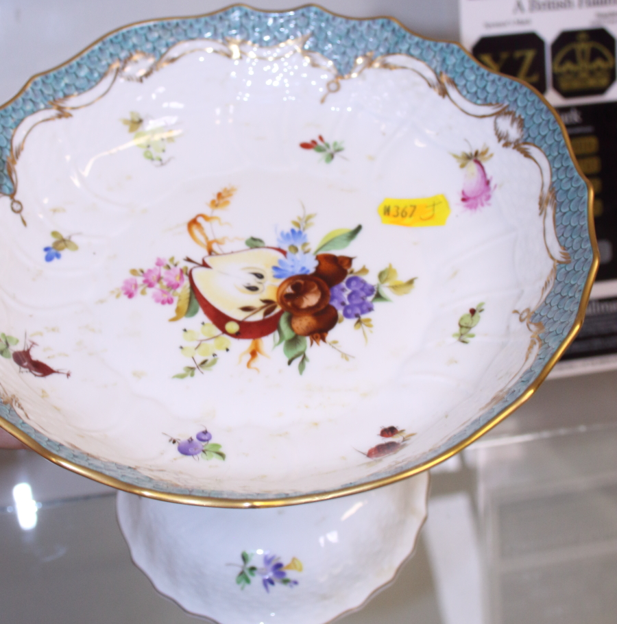 Lot 11 - A Herend two-handled tray, with gilt decoration, fruit and turquoise fish scale border, hand-painted
