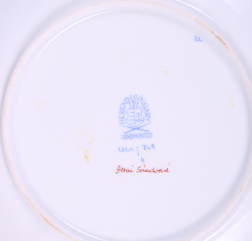 """Lot 15 - A pair of Herend """"Cornucopia"""" pattern plates with blue, red and gilt decoration, 8"""" dia, hand-"""