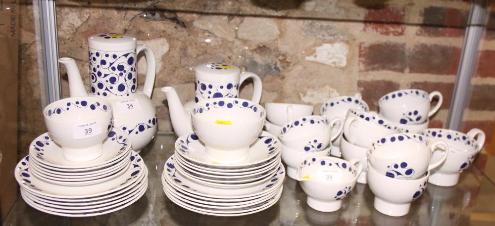 "Lot 39 - A 1960s Midwinter ""Pierrot"" pattern combination service for six, designed by Nigel Wilde,"
