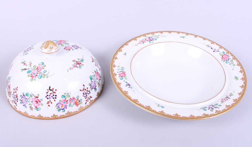 """Lot 6 - A late 19th century Sampson porcelain muffin dish and cover with floral and gilt decoration, 8"""" dia"""