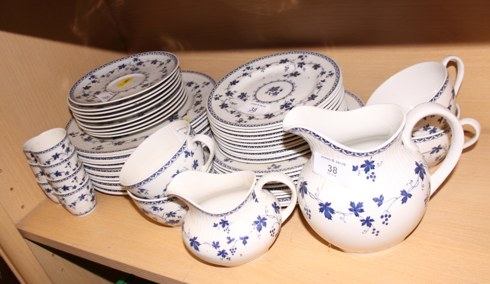 "Lot 38 - A Royal Doulton ""Yorktown"" pattern part combination service, including teacups, egg cups, a milk"