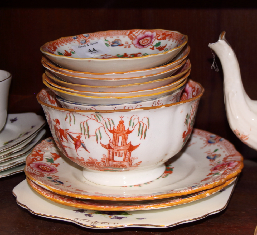 Lot 44 - A Hilditch orange chinoiserie part teaset and other teawares