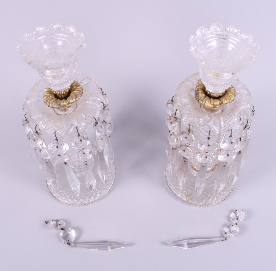 """Lot 32 - A pair of cut glass and ormolu table lustres, 10 1/2"""" high"""