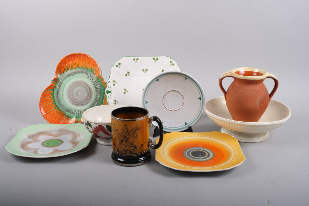 Lot 57 - A Shelly trefoil dish, a shamrock decorated plate and other ceramics