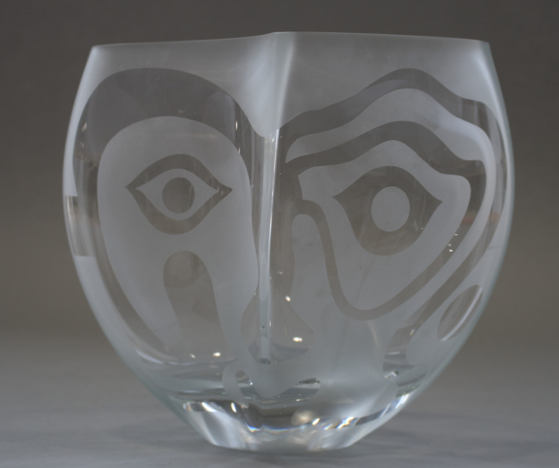 """Lot 34 - A Picasso style etched glass bowl, seven Dartington """"Sharon"""" pattern wine glasses, two 19th"""
