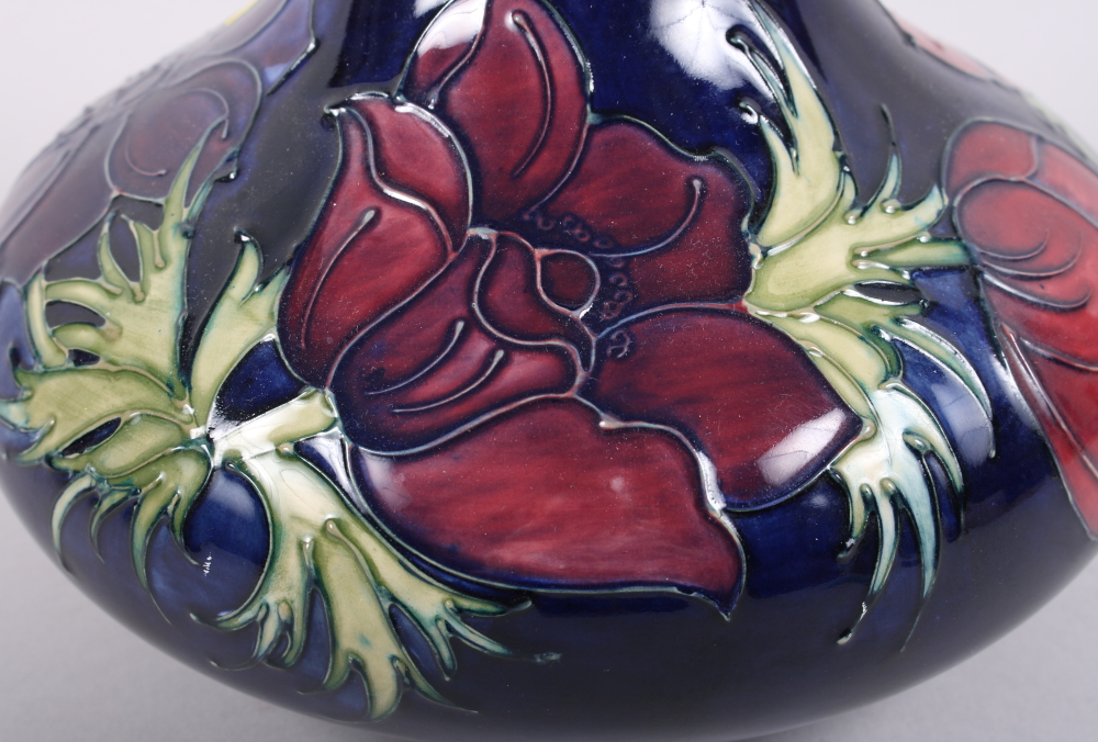 """Lot 20 - A Moorcroft """"Anemone"""" pattern squat vase, designed by Sally Tuffin, 7 1/2"""" high"""