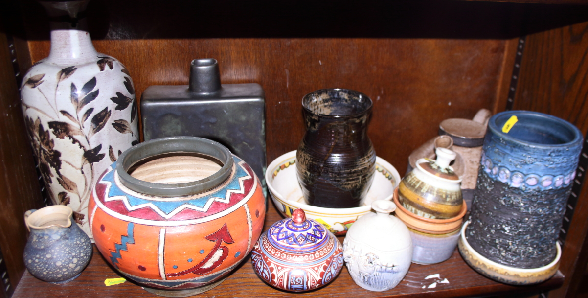 Lot 55 - A quantity of studio pottery, including vases, a teapot, a jug, bowls and other items
