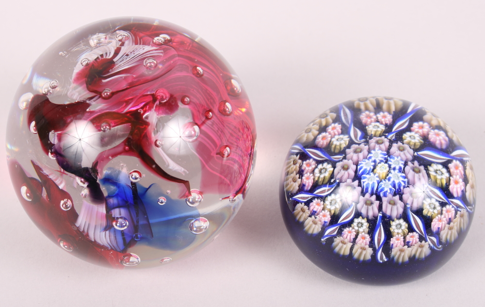 """Lot 30 - Two glass paperweights, one with """"inka"""" etched to base"""
