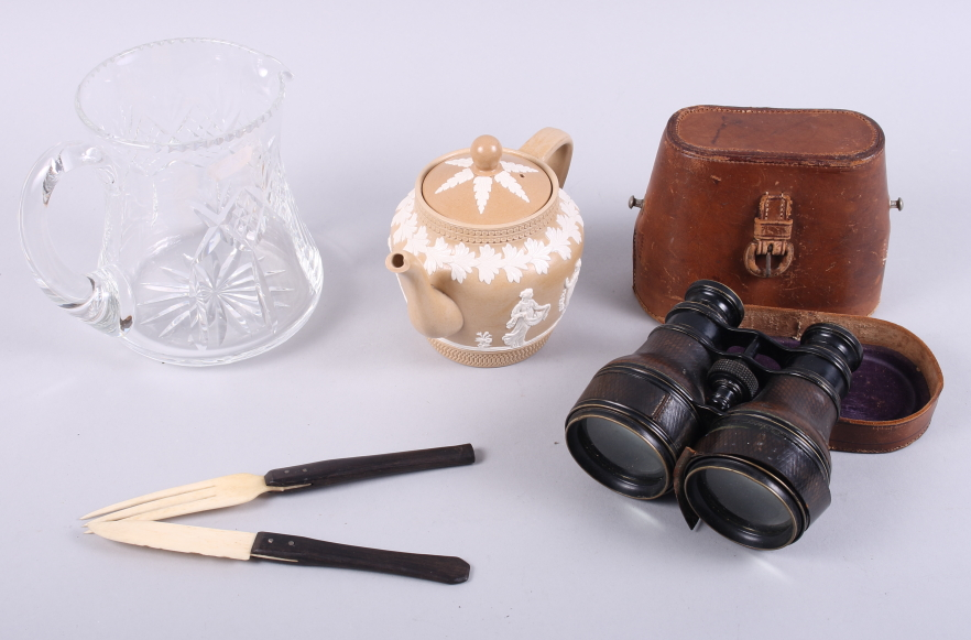 Lot 59 - A Copeland relief decorated teapot (damages) with a pair of binoculars, a glass jug and a bone knife