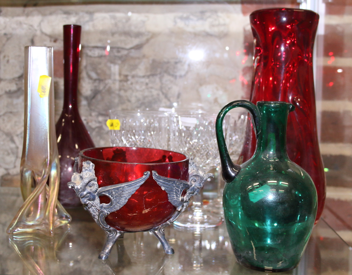 Lot 53 - Four cut glass white wine glasses, a ruby glass sprinkler bottle, a jug, a ruby glass vase and other
