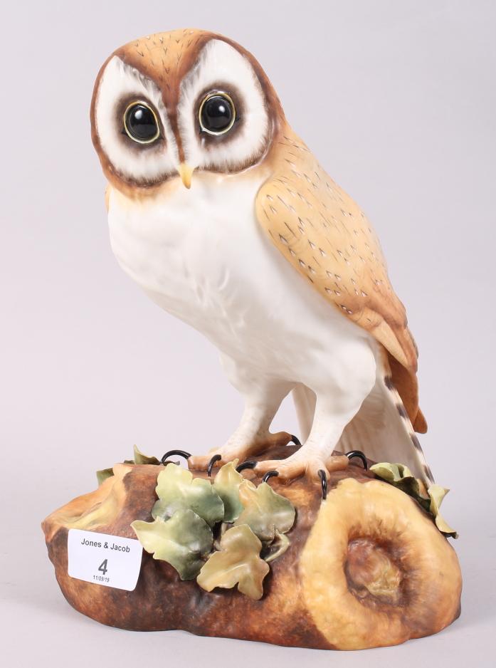 Lot 17 - A Royal Crown Derby model of a barn owl, by J Bryan, in box