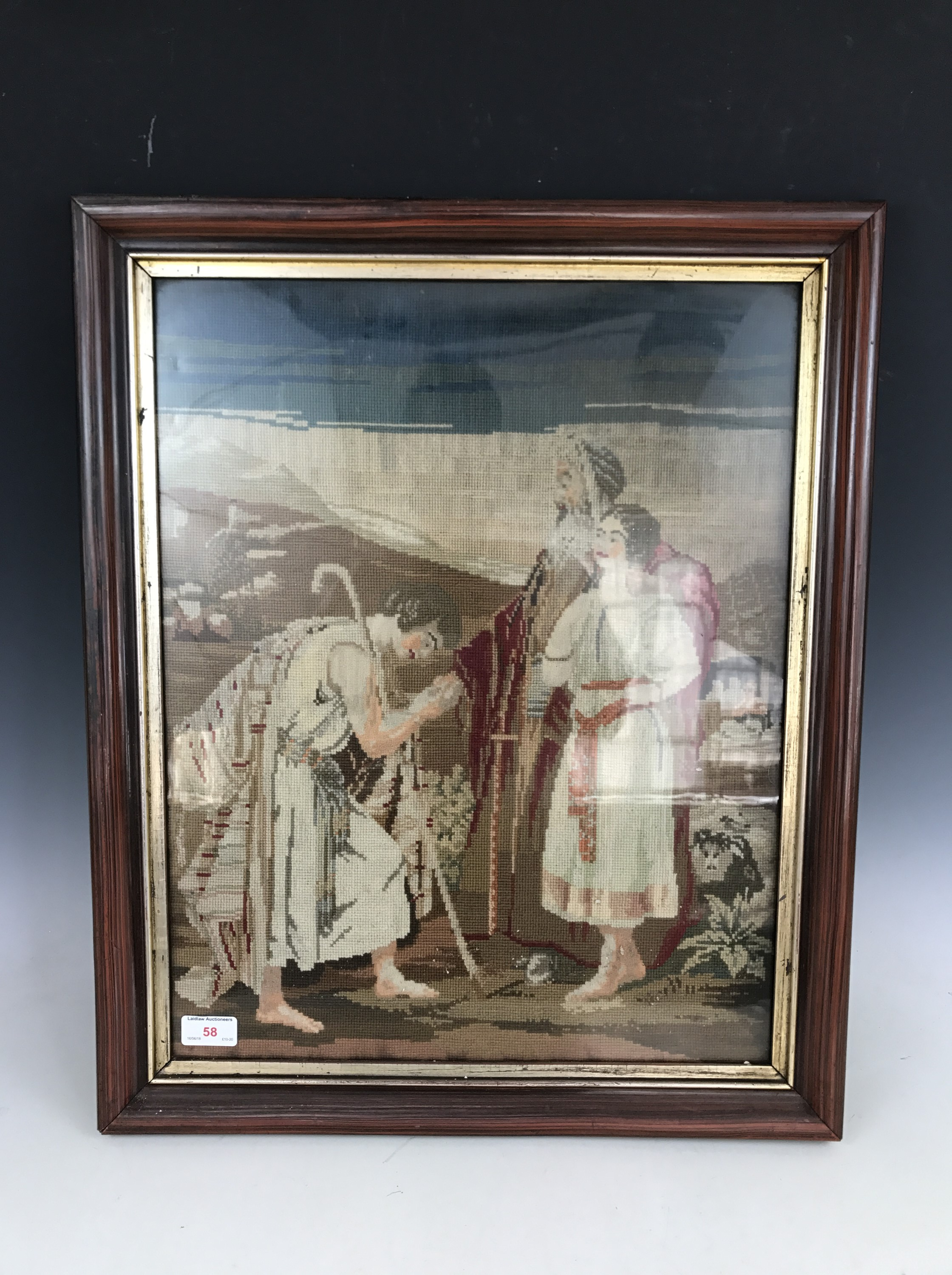 Lot 58 - A Victorian gros-and petit-point needlework tapestry of a biblical scene framed under glass, 54 x 41