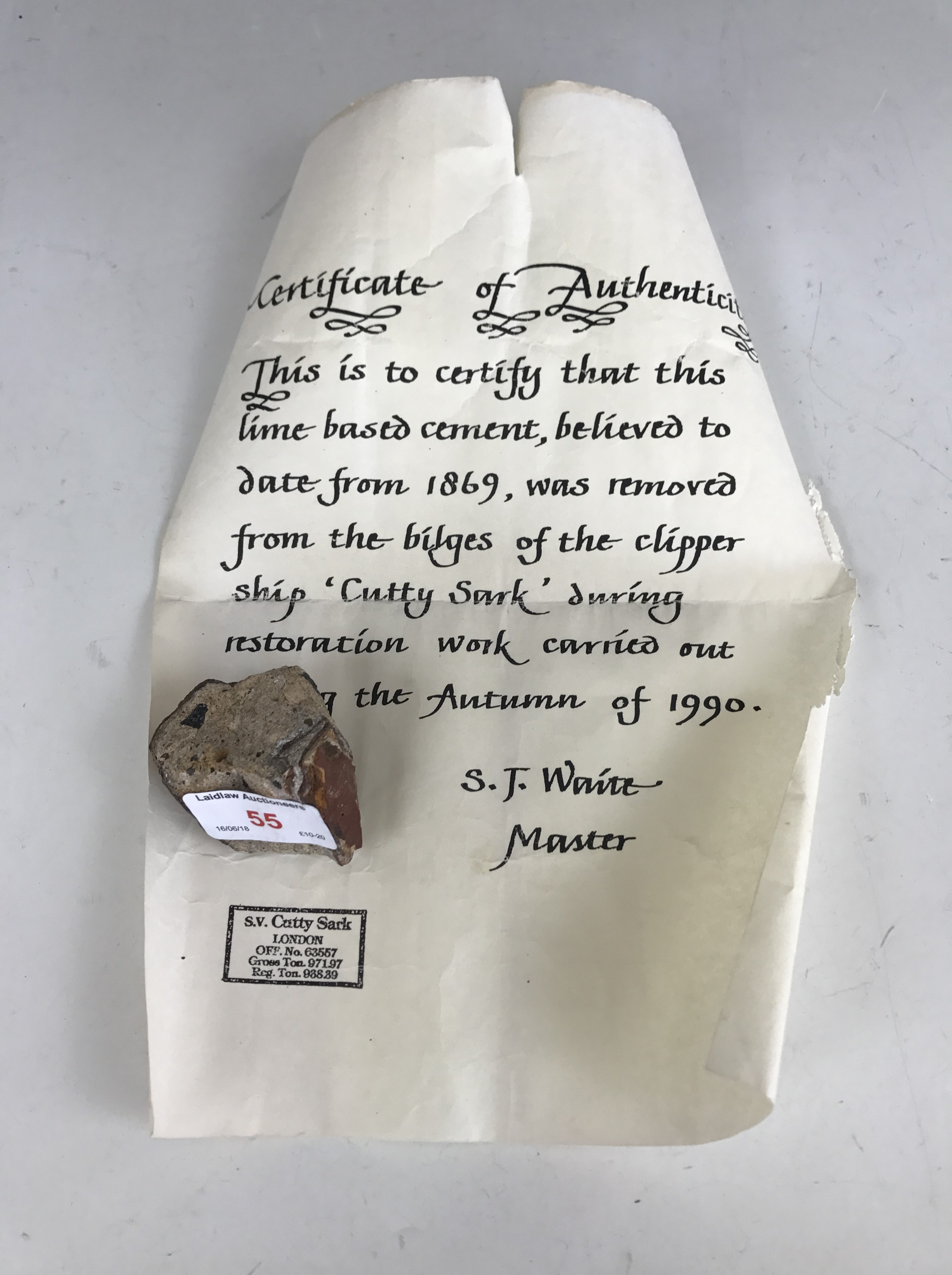 Lot 55 - A fragment of ballast from the clipper ship Cutty Sark, recovered during 1990 restoration, with