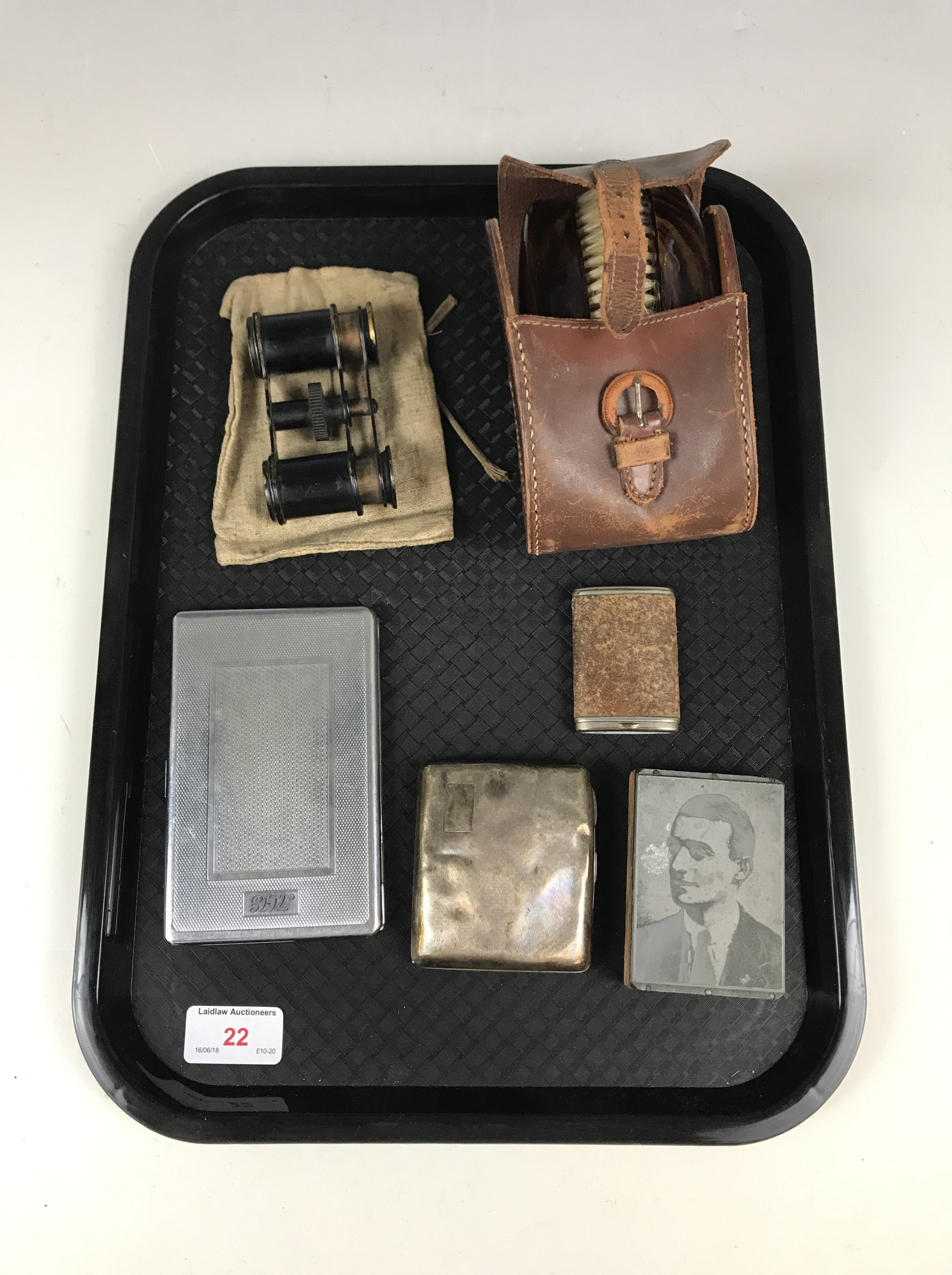 Lot 22 - Sundry collectors' items including opera glasses, a silver cigarette case, and a brush set etc.