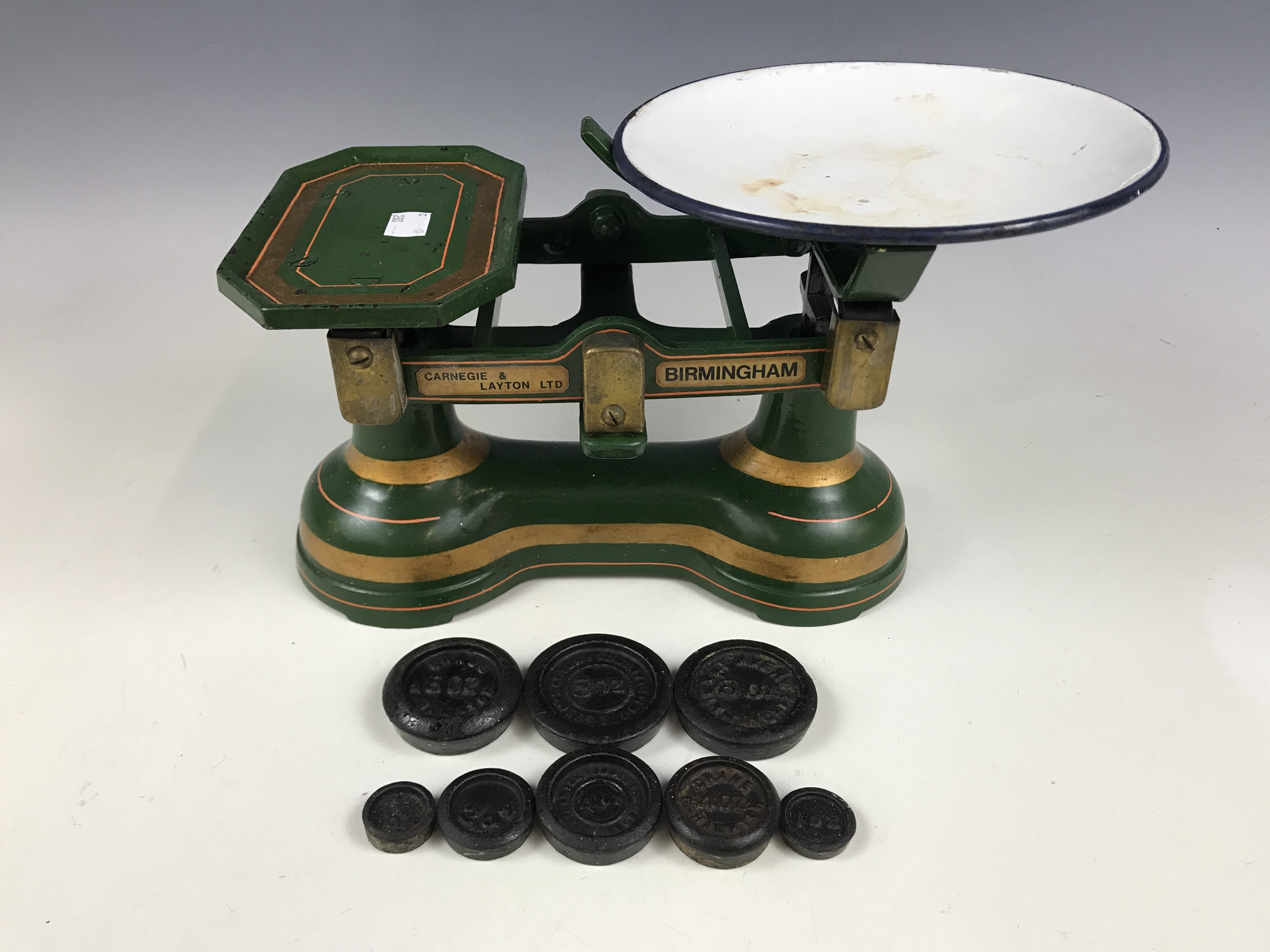 Lot 10 - Carnegie & Layton Ltd kitchen scales and weights