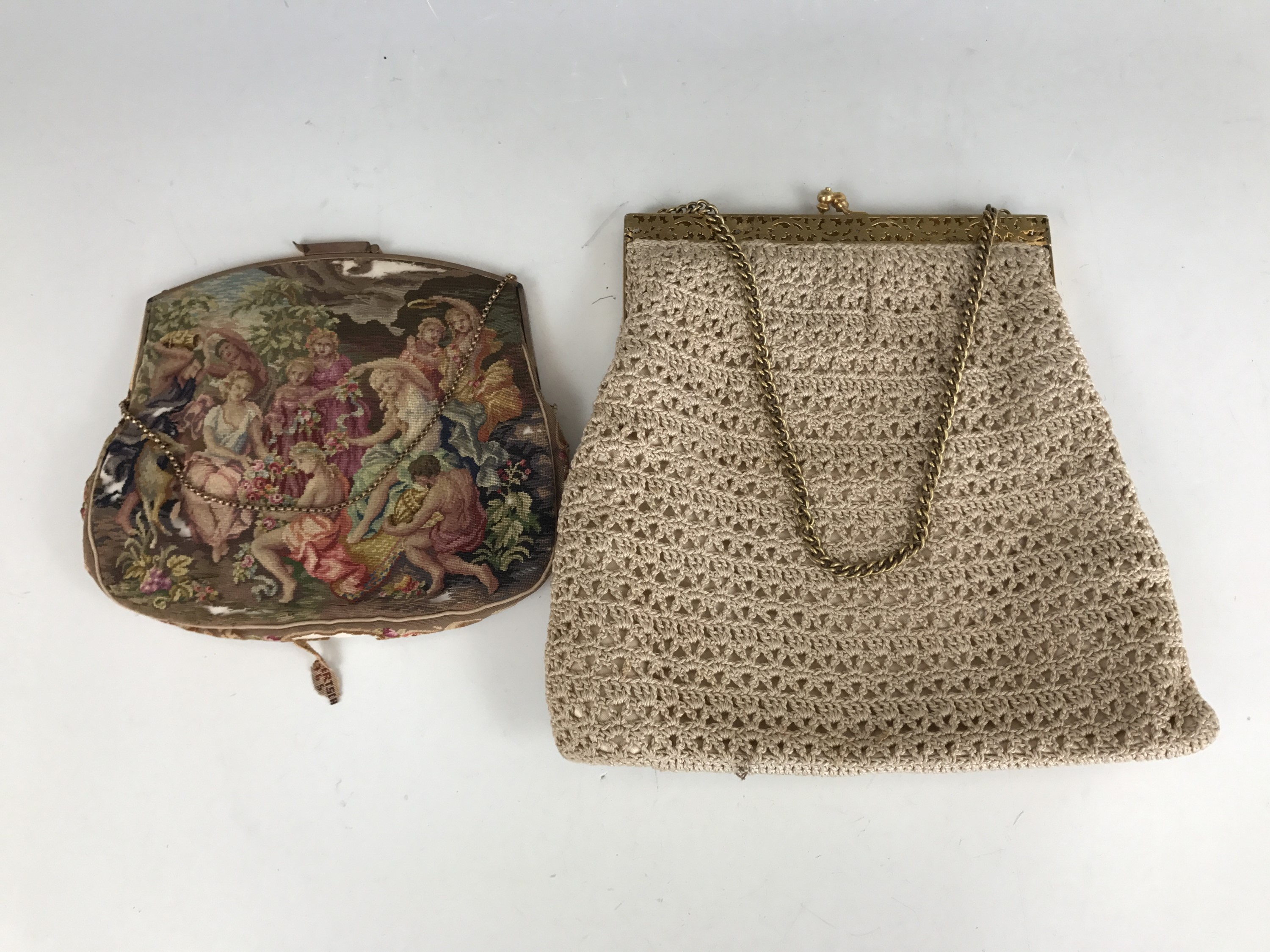Lot 57 - Two early 20th century needlepoint handbags, one having petit-point embroidery after a painting by