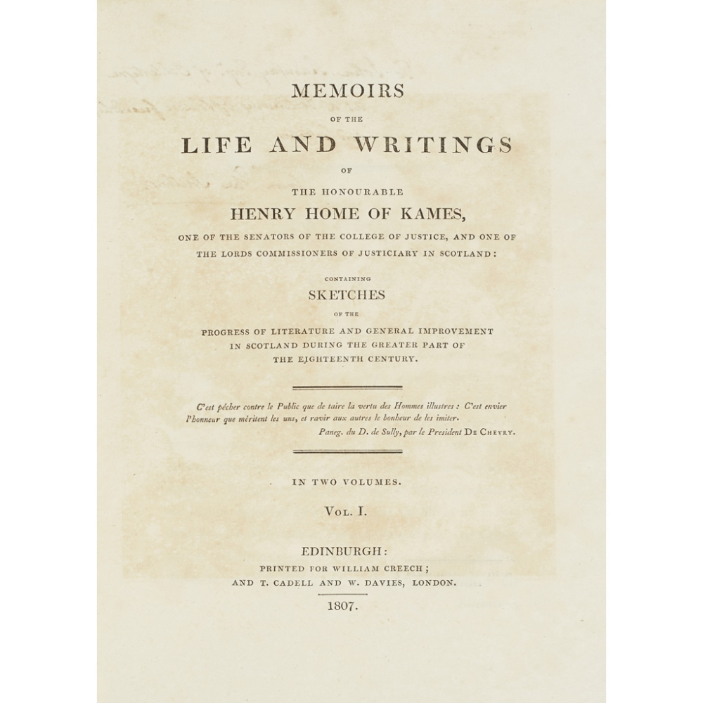 KAMES, HENRY HOME - TYTLER [ALEXANDER FRASER]MEMOIRS OF THE LIFE AND WRITINGS OF THE HONOURABLE - Image 4 of 4