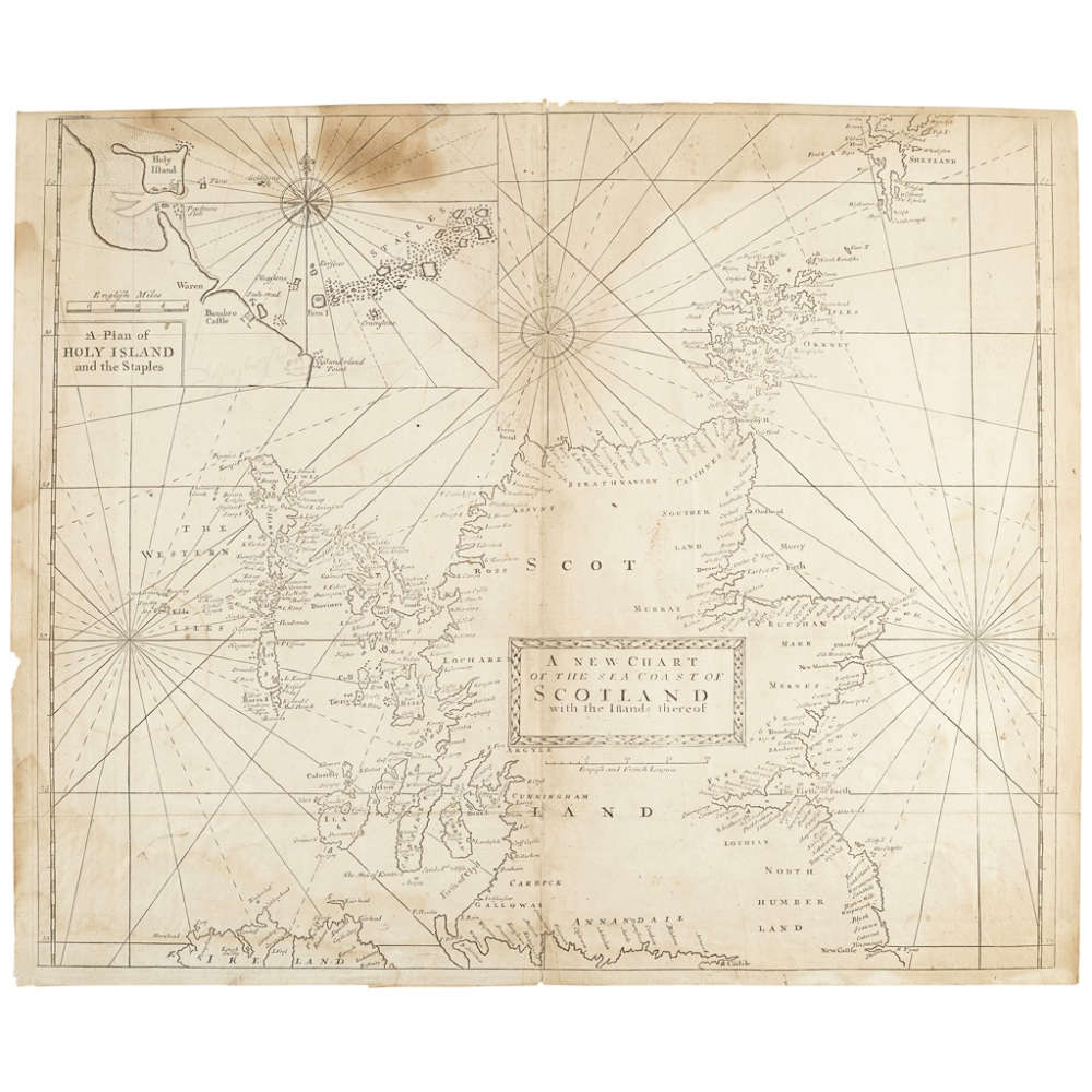 Lot 45 - MOUNT, J. & T. PAGEA NEW CHART OF THE SEA COAST OF SCOTLAND London : W. & J. Mount & T. Page, [c.
