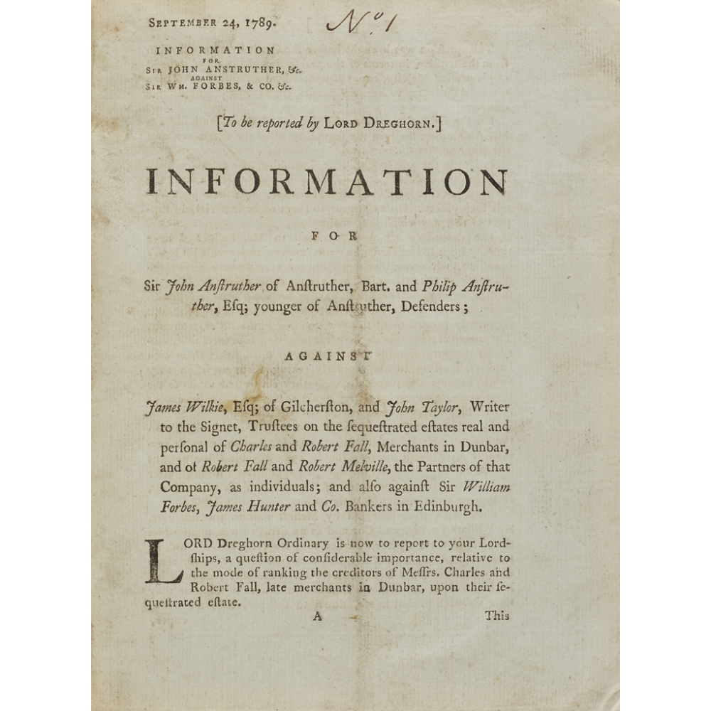 SCOTTISH PAMPHLETS, A COLLECTIONOF 27 ITEMS, COMPRISING 1) Information for Sir John Anstruther of
