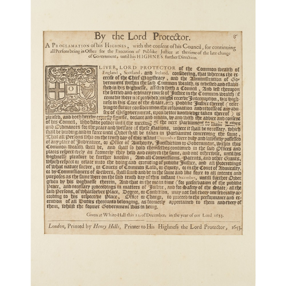 OLIVER CROMWELL - BROADSIDEBY THE LORD PROTECTOR. A PROCLAMATION OF HIS HIGNES, with the consent