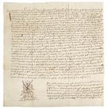 [AYRSHIRE] STEWART OF DARNLEY, SIR JOHN, (D. 1526, 3RD EARL OF LENNOX)INSTRUMENT OF SEISIN, IN
