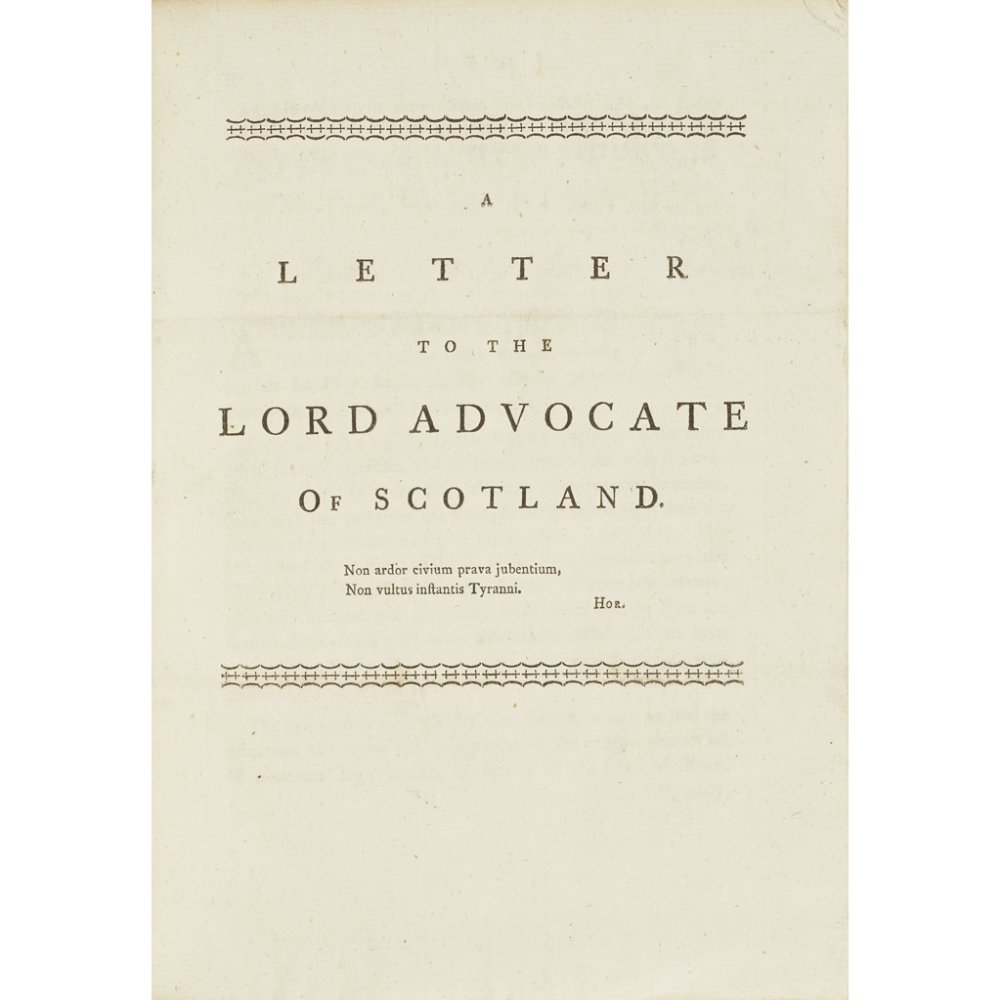 Lot 120 - SCOTTISH PAMPHLETS, A COLLECTION,COMPRISING 1) [Walker, John, Baillie of Edinburgh.] [Caption