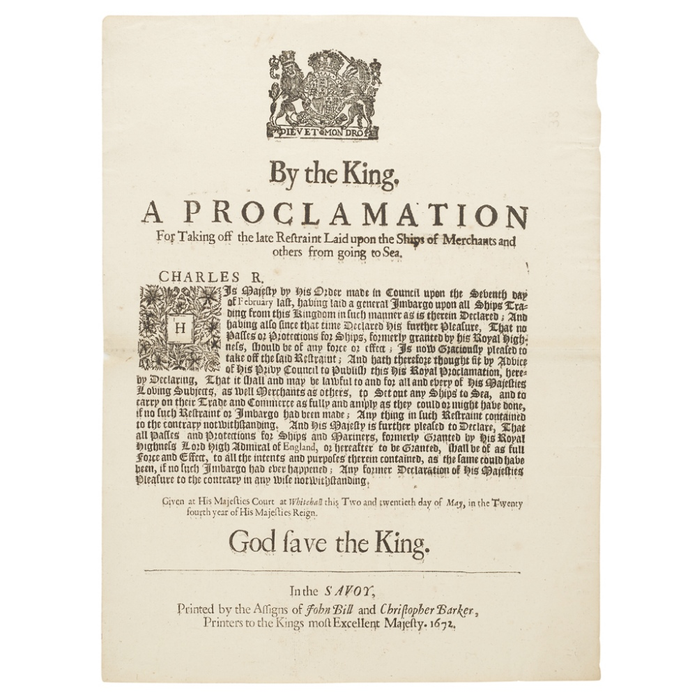 CHARLES IIPROCLAMATIONS ON THE NAVY, NAVIGATION AND TRADE, & CUSTOMS, COMPRISING By the King. A