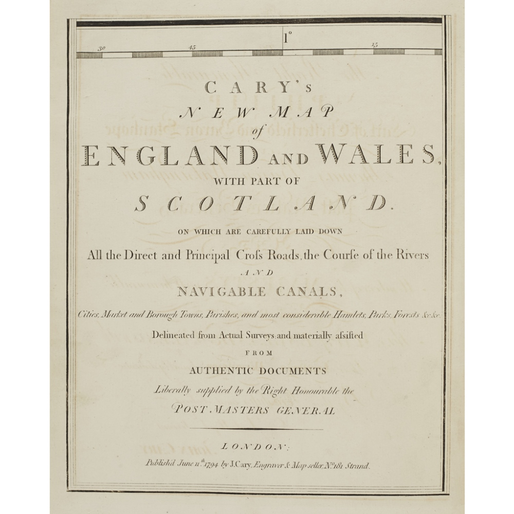 Lot 33 - CARY, JOHNCARY'S NEW MAP OF ENGLAND AND WALES, WITH PART OF SCOTLAND London: J. Cary, 1794. First