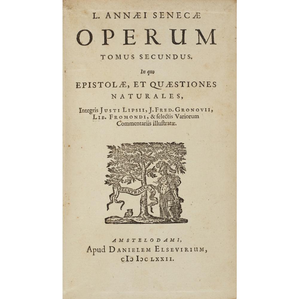 Lot 92 - VELLUM BINDINGS - SENECA, LUCIUS ANNAEUSOPERA, QUAE EXSTANT Amsterdam: Daniel Elsevier, 1673. 3