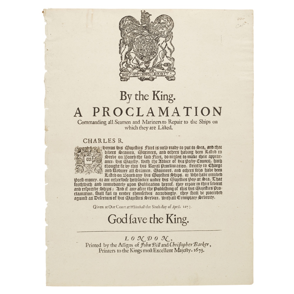 CHARLES IIPROCLAMATIONS ON THE NAVY, NAVIGATION AND TRADE, & CUSTOMS, COMPRISING By the King. A - Image 2 of 3