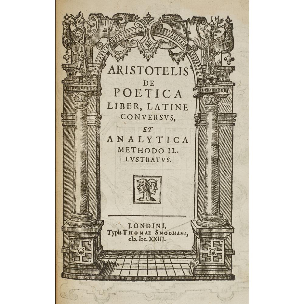 ARISTOTLE, 2 WORKS, COMPRISING ARISTOTELIS DE RHETORICA SEU ARTE DICENDI LIBRI TRES
