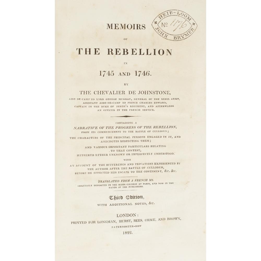 SCOTLAND4 VOLUMES, COMPRISING HOGG, JAMES The Jacobite Relics of Scotland. Edinburgh: W. - Image 3 of 4