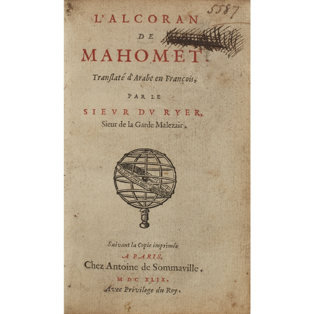 KORAN - QURANL'ALCORAN DE MAHOMET, TRANSLATÉ D'ARABE EN FRANCOIS Par le Sieur du Ryer. Paris: