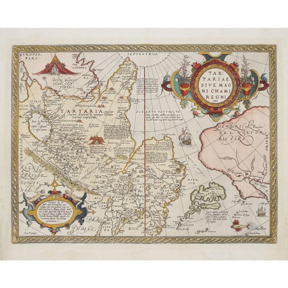 Lot 48 - ORTELIUS, ABRAHAMTARTARIAE SIVE MAGNI CHAMI REGNI TYPUS 1573, 435 x 542mm, hand-coloured, Latin text