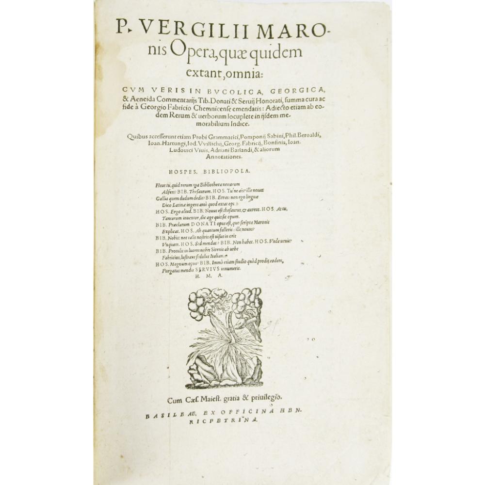 VERGILIUS MARO, PUBLIUSOPERA, QUAE QUIDEM EXTANT, OMNIA... Basel: Heinrich Petri, 1575. Small - Image 3 of 4