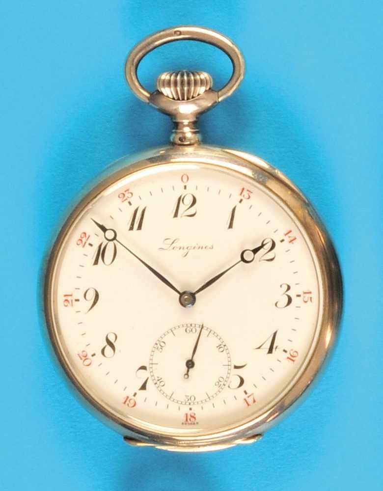 Metal pocket watch, LonginesMetall-Taschenuhr, Longines, glattes Gehäuse, Emailzifferblatt mit