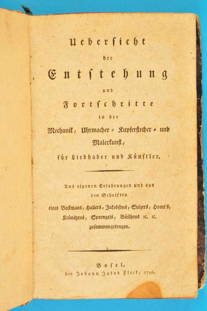Johann Jakob Flick, Übersicht der Entstehung und Fortschritte in der Mechanik, Uhrmacher-,