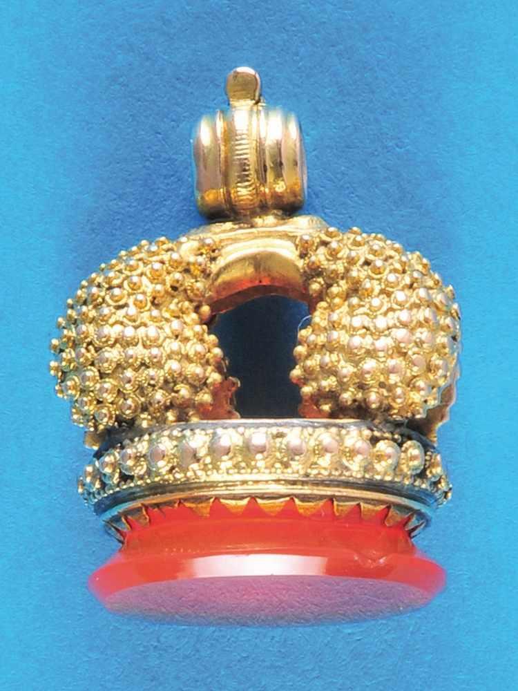 Golden signetGoldene Petschaft mit 6,24 Gramm, mit Koralle ausgefasst (4947) 250