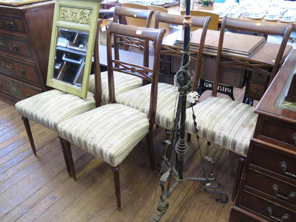 Lot 17 - A set of five Italian stained beech dining chairs, with cross frame mid rails, stuffover seats,