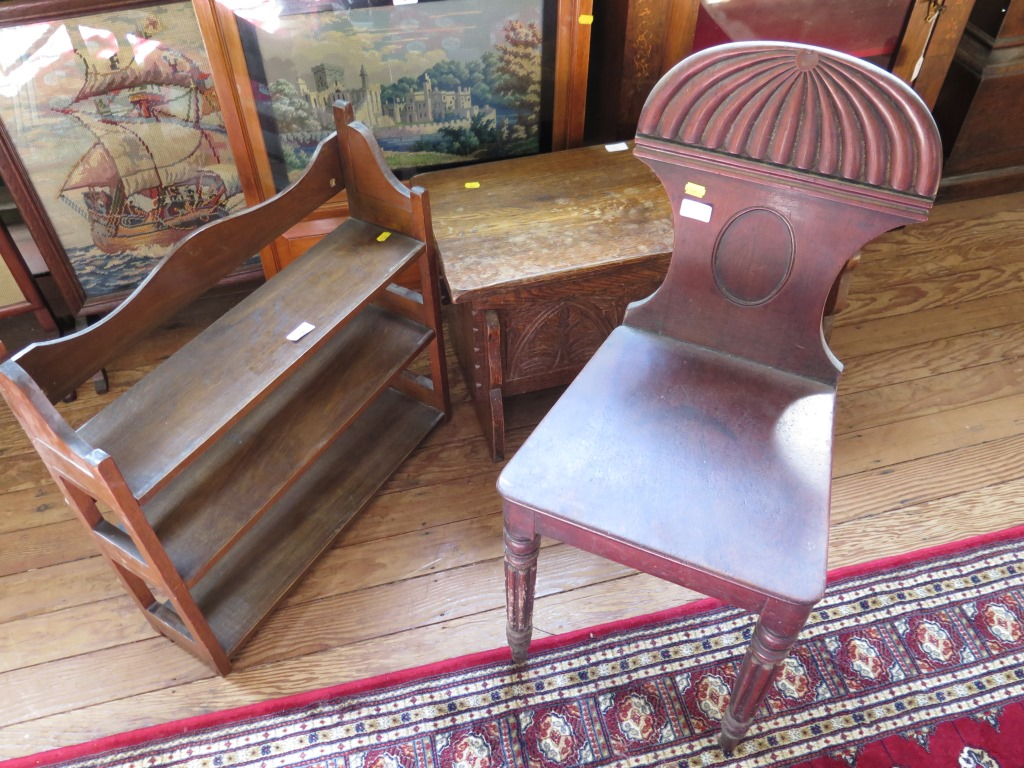 Lot 54 - A Regency mahogany hall chair, with waisted reeded back and reeded legs, a carved oak small