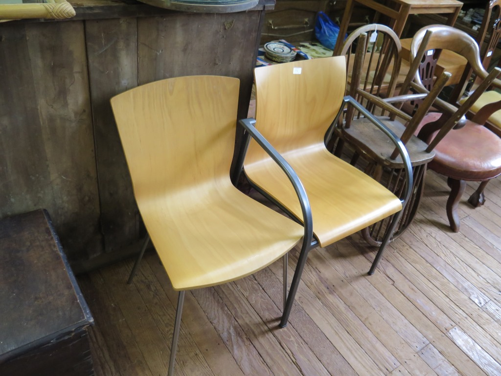 Lot 19A - A set of six birch plywood dining chairs and another chair (7)