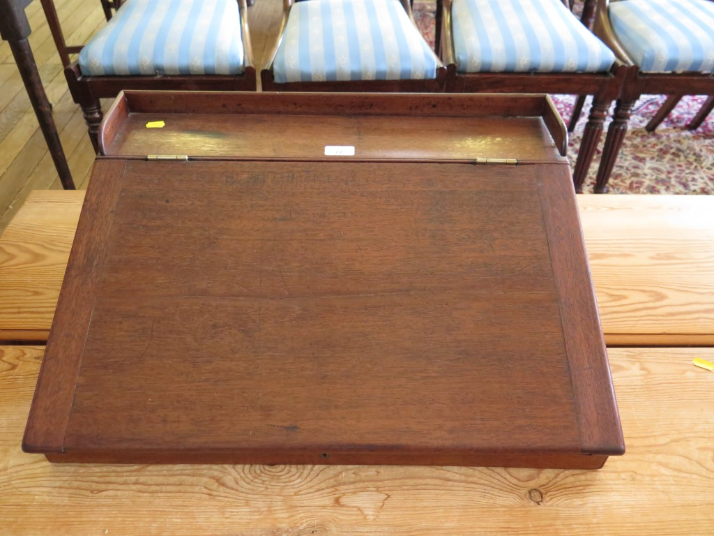 Lot 22 - A Victorian mahogany desk top writing slope, with two frieze drawers, 76 x 65 cm