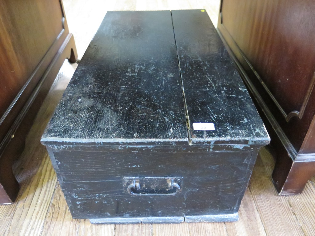 Lot 20 - A black painted blanket box, with internal candle box 78cm wide 41cm deep 29cm high
