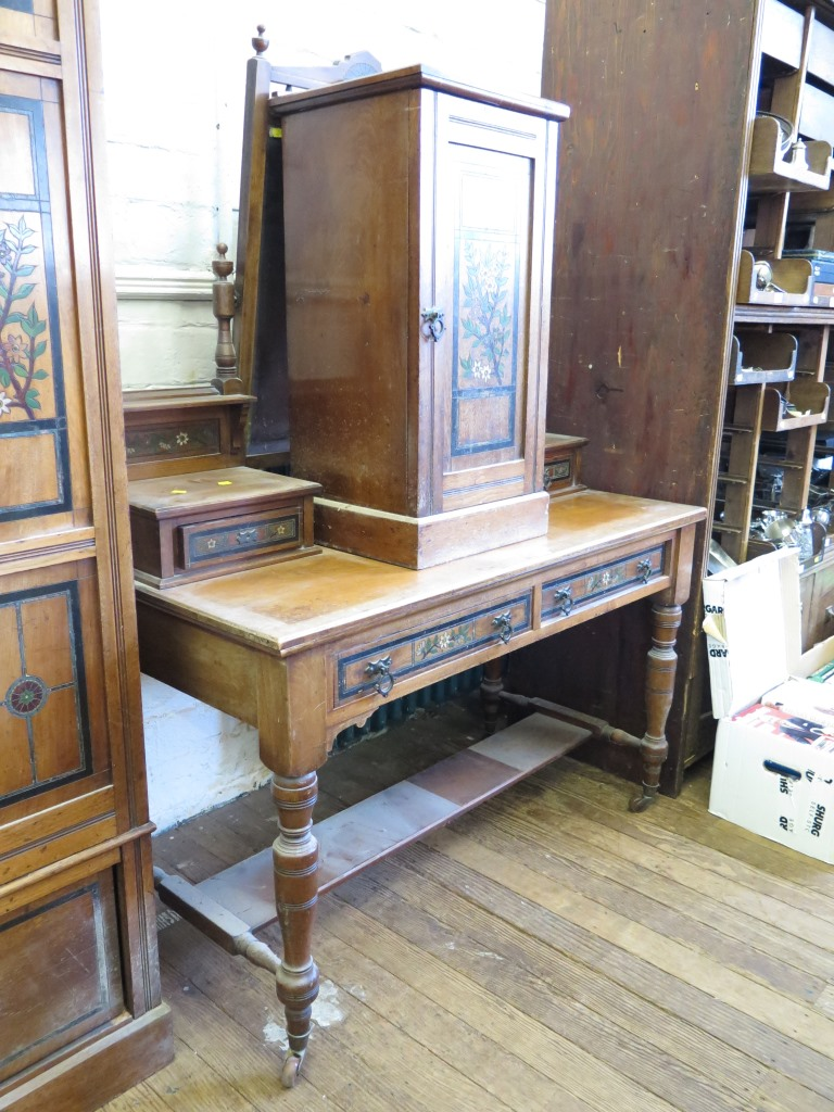 Lot 14 - A late Victorian painted mahogany four piece bedroom suite, comprising mirrored door wardrobe,